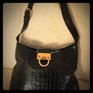 Ferragamo Black Logo Embossed Shoulder Bag